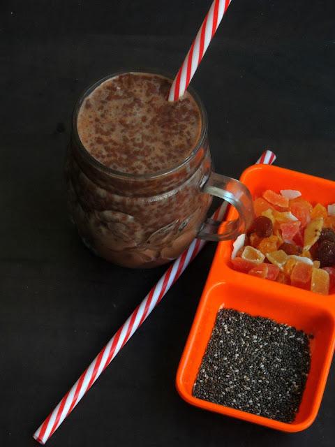 Chia seeds chocolate milk