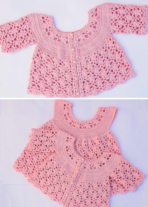 Crochet Baby Girl Jacket - Tutorial