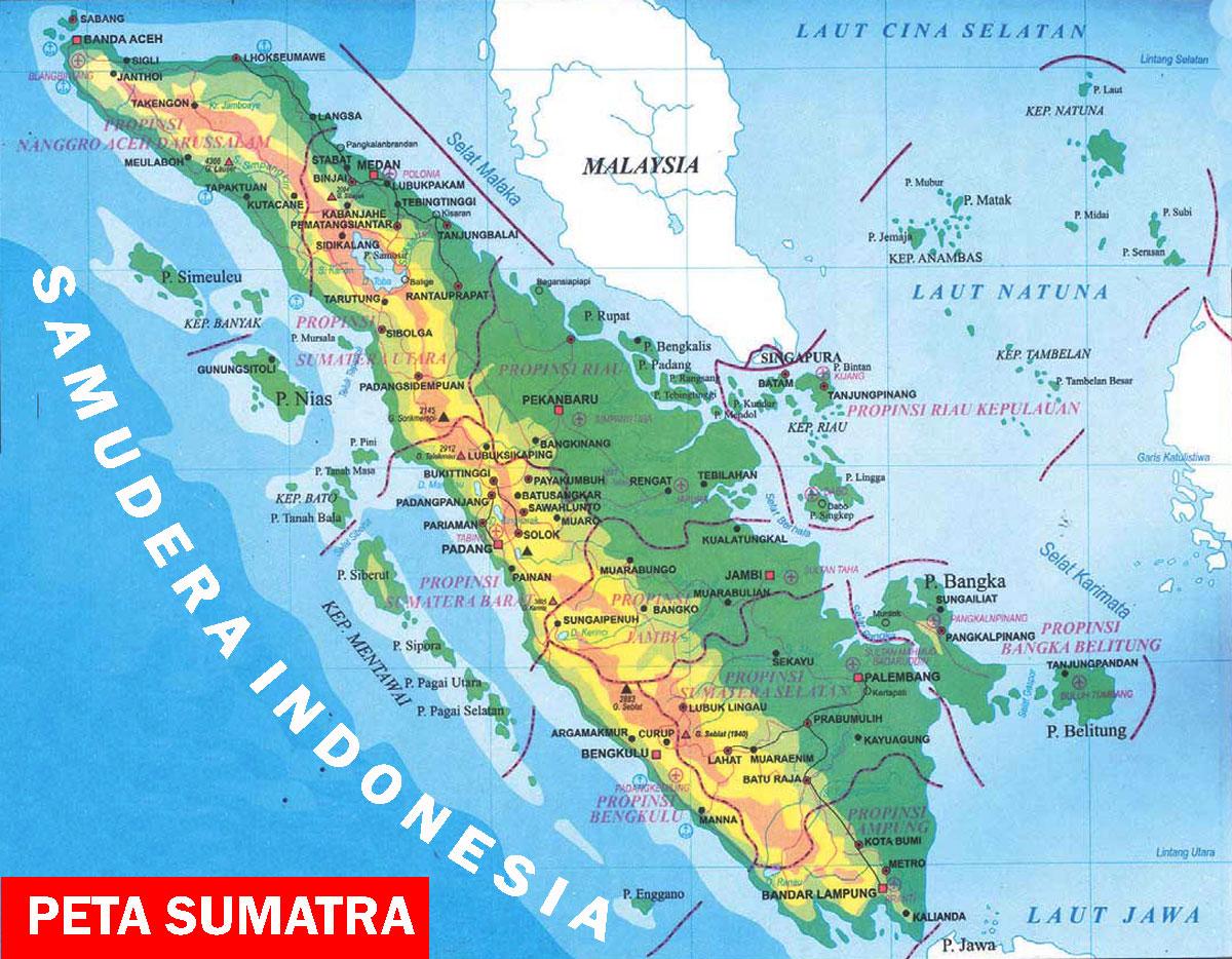 Peta Sumatra Lengkap 10 Provinsi Sejarah Negara Gambar Sketsa Pulau