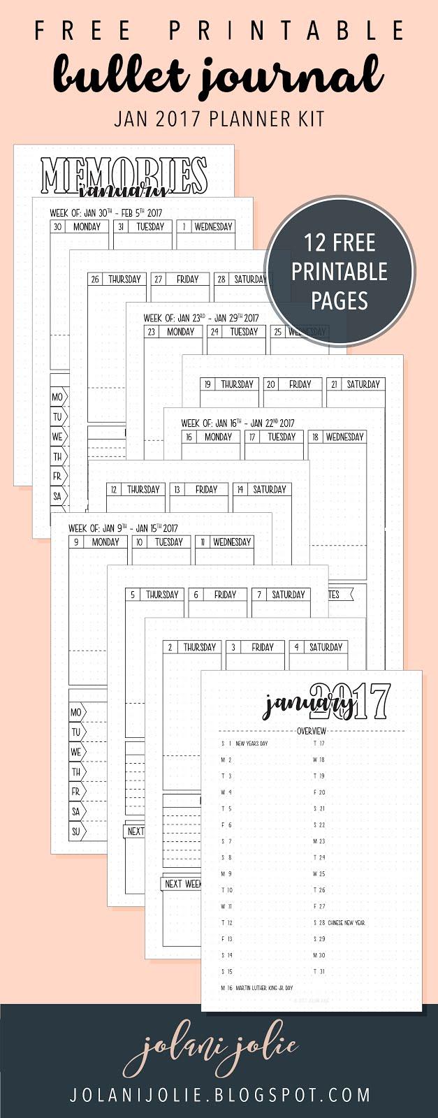free printable bullet journal january 2017 kit jolani jolie. Black Bedroom Furniture Sets. Home Design Ideas