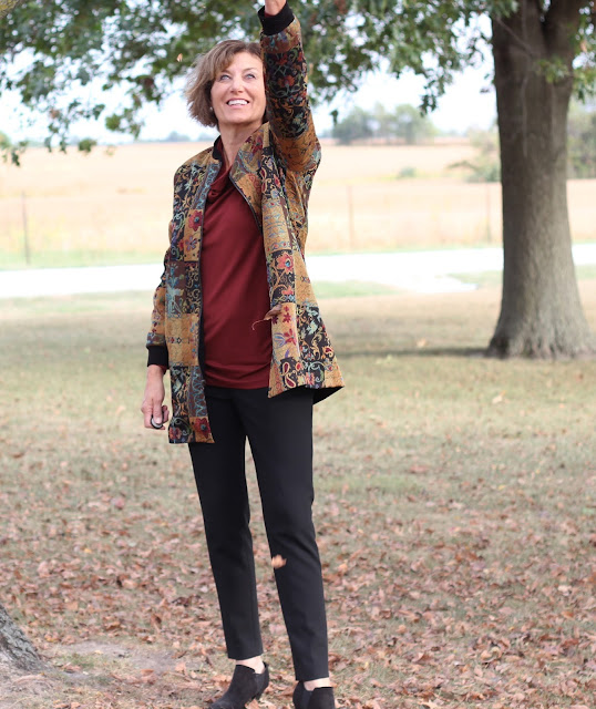 Style Maker Fabrics' Fall 2017 Style Tour - Patchwork Jacquard made into Vogue 9275 and Bamboo Rust Jersey in Angela Wolfe's Ruched T