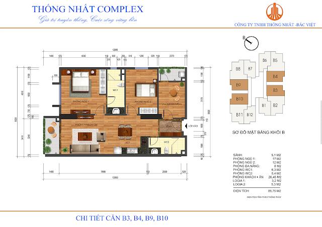 Thiết kế căn hộ B3 B4 B9 B10 Thống Nhất Complex - Dt 88m2