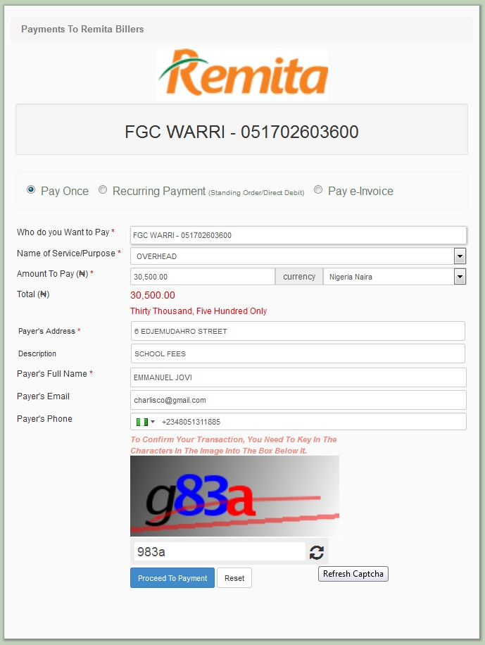 How to Generate Fed Govt College, Remita Payment RRR Code