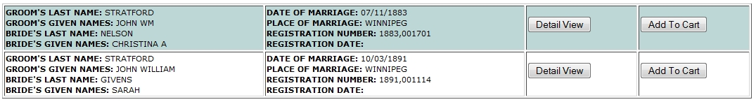 "Consumer and Corporate Affairs, Manitoba, Canada, ""Marriages,"" database on-line, Province of Manitoba Vital Statistics Database Search (http://vitalstats.gov.mb.ca/Query.php : accessed 20 Jan 2015), entries for John Stratford 1891 and earlier."