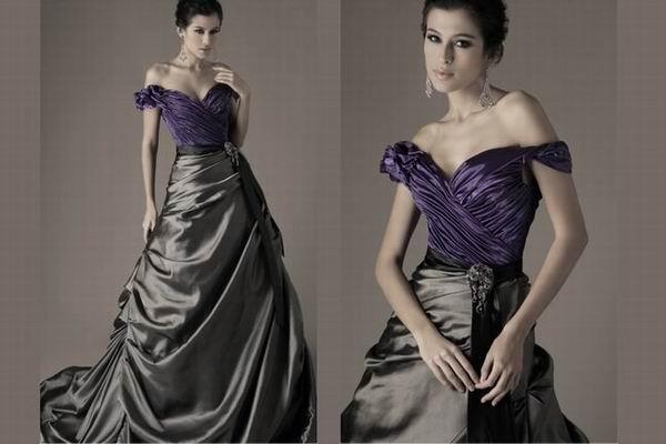 Black Wedding Gowns: Purple And Black Wedding Dress Designs Ideas