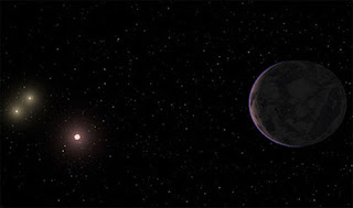 Illustration of Gliese 667C planetary system which have planets in the habitable zone. Credit: Guillem Anglada-Escude