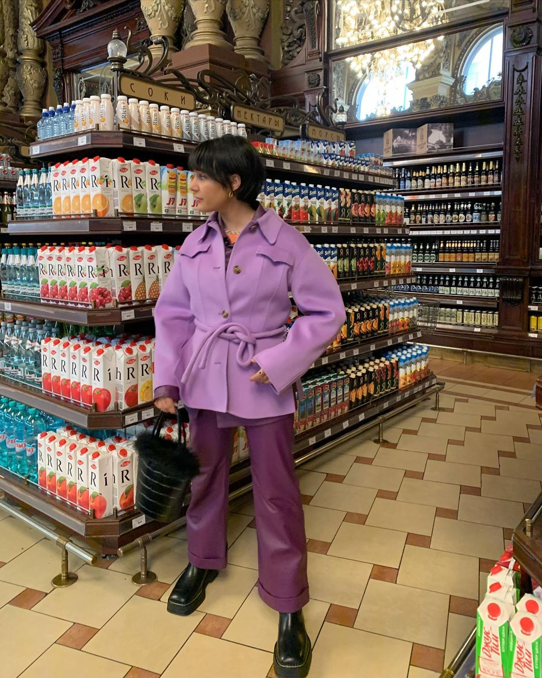 This Instagram Star Makes Makes a Statement In Purple Pieces