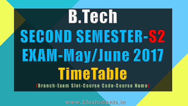 B.Tech S2 Examination May/June 2017-Time Table