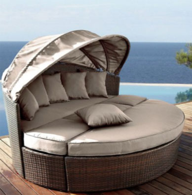 Round Outdoor Daybeds UK   Outdoor Furniture     Venus Round Garden Sofa Daybed Circular Design With Folding Canopy   Round Outdoor Daybeds UK