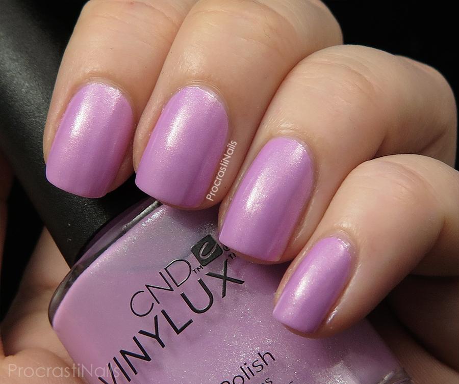 Swatch of Beckoning Begonia a pink lilac shimmer nail polish