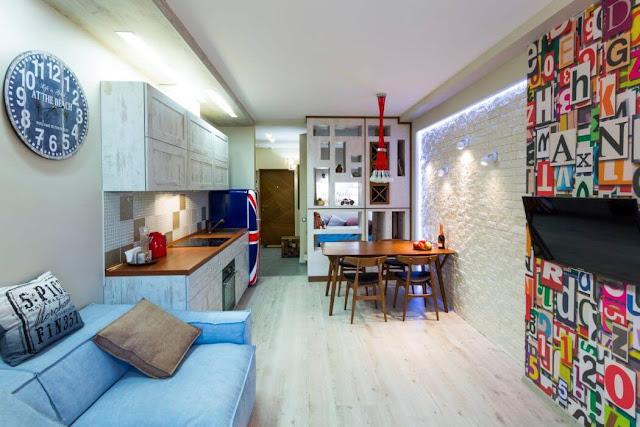 Proiect îndrăzneț de amenajare pentru o garsonieră de 30 m²