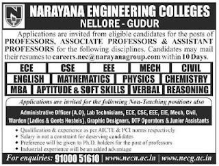NEC Narayana Engineering Colleges, Nellore, Recruitment 2019 Assistant Professor/Lab Technicians/Junior Assistants Jobs.