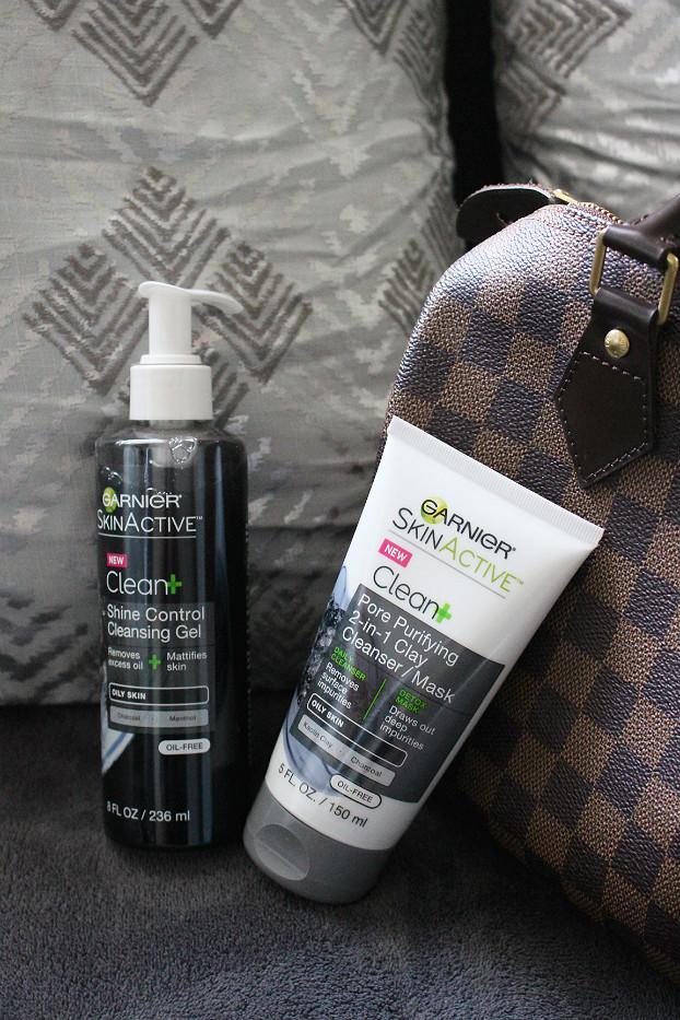 Garnier Skinactive Clean Pore Purifying 2-in-1 Clay Cleanser/Mask, Garnier Skinactive Clean Shine Control Cleansing Ge