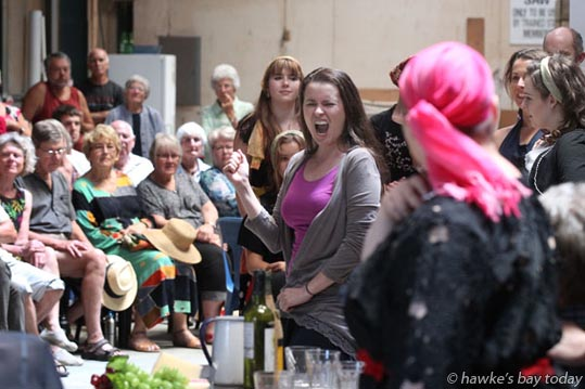 Victoria Lambourn (Carmen), performing in Carmen, an opera by Bizet, performed by Festival Opera, picturd in an open rehearsal for the public in an orchard shed near Meeanee, Napier. photograph