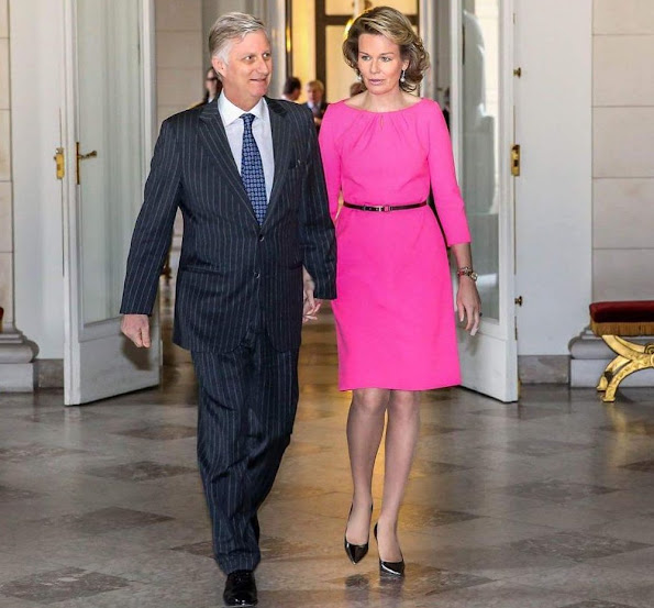 King Philippe and Queen Mathilde of Belgium met with the heads of Belgian diplomatic staff at the Royal Castle of Brussels