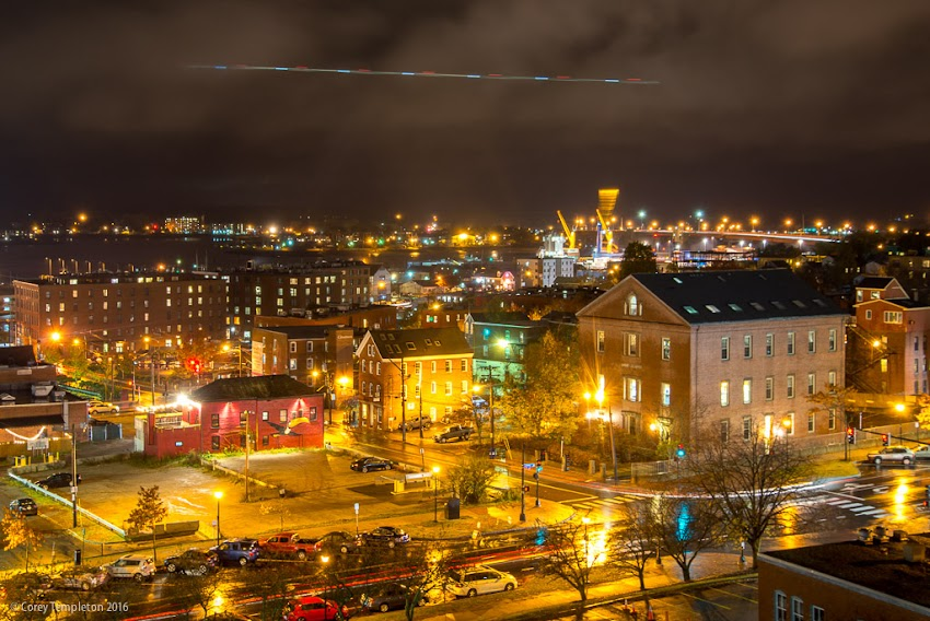 Portland, Maine USA November 2016 photo by Corey Templeton of skyline over Spring Street looking south on a rainy evening.