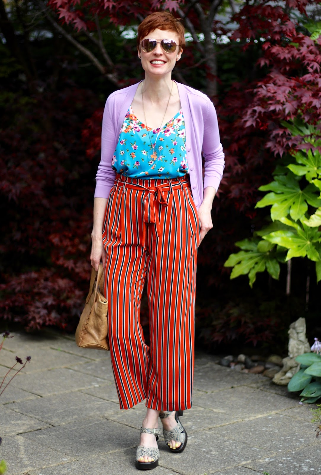 Striped Zara Culottes, Chunky Sandals & Florals, over 40 | Fake Fabulous