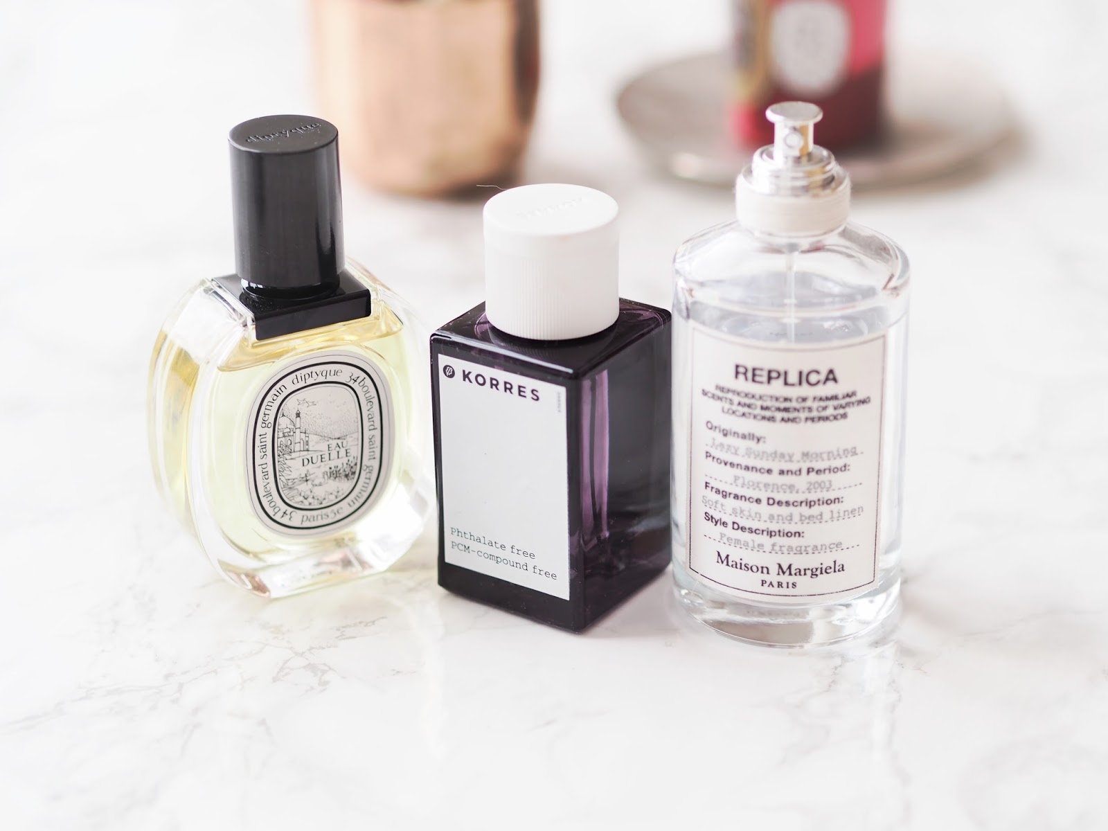 Perfumes I've Been Loving Lately, best perfumes, maison margiela lazy sunday morning, korres paenia, vanilla, amber, pear perfume, diptyque eau duelle eau de toilette, review, scent, notes, fragrance