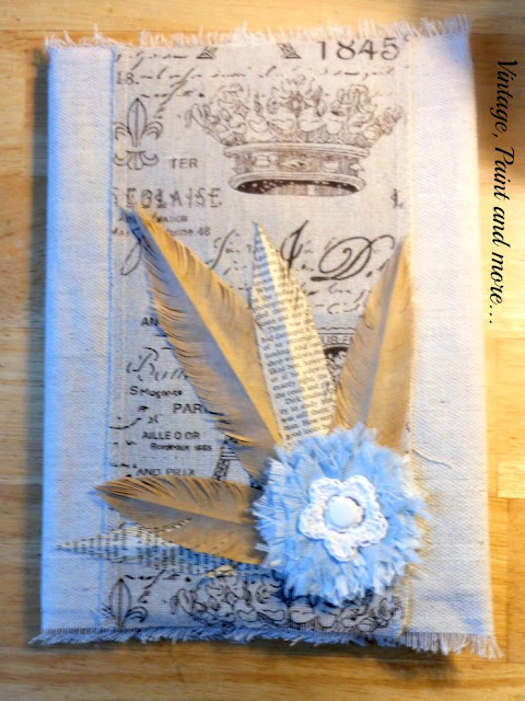 Vintage, Paint and more... diy no sew fabric notebook cover with vintage embellishments