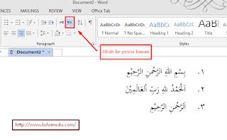 Cara ngetik arab di word