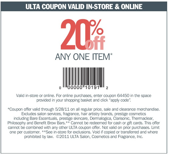 Ulta Coupon 20 Off Printable In Store Ea Origin Coupon