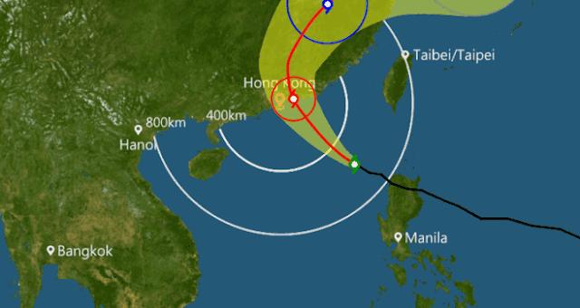 Waspada...! Thypoon Haima Menjauh Dari Taiwan dan Mendekati Hong Kong - Malam Ini Dikeluarkan Peringatan T3