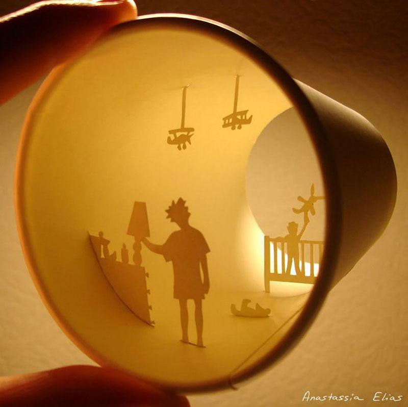 Paper Cut Sculptures Inside Coffee Cups by Anastassia Elias