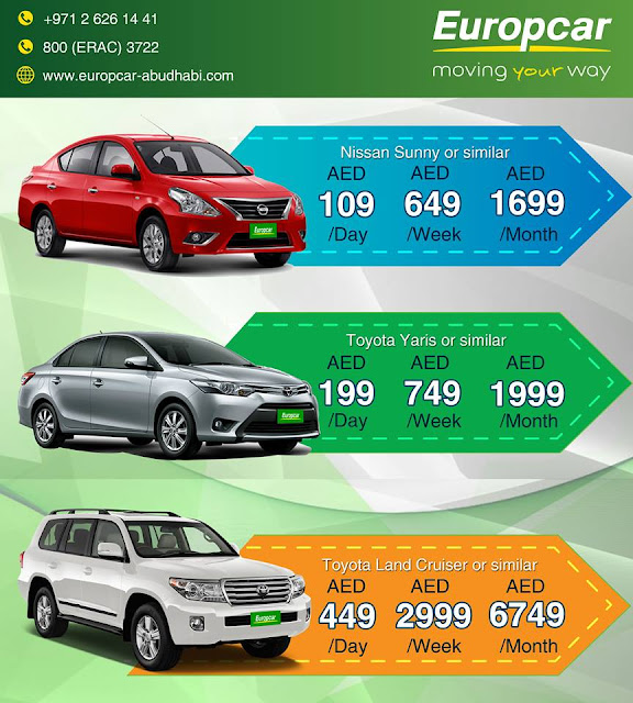 Europcar Abu Dhabi Unbeatable Prices Call 8003722 To Benefit From