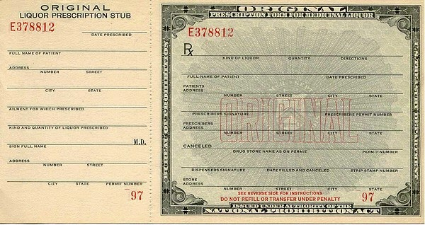 prohibition liquor prescription