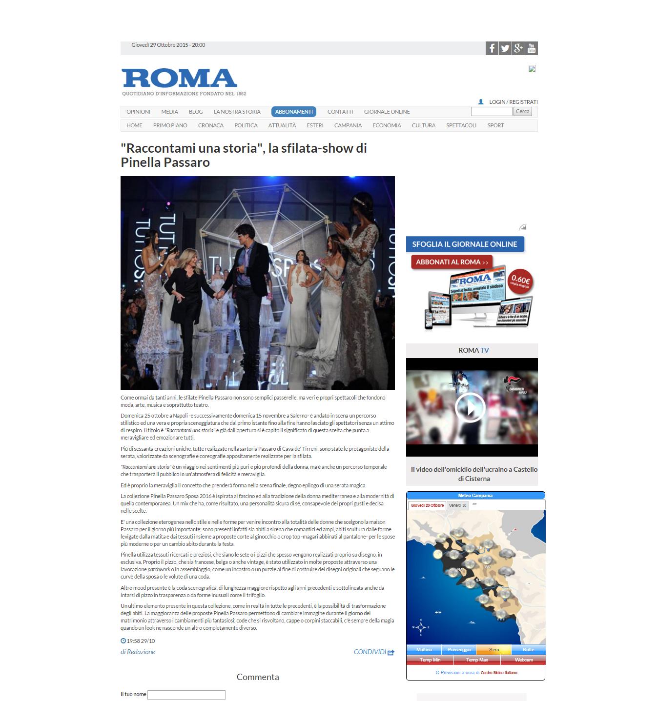 bfbf087faad7 Rassegna Stampa Sfilata Passaro Sposa Napoli 25 Ottobre 2015 - Anna ...