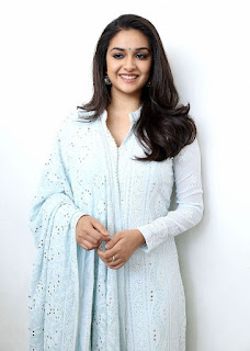 Keerthy Suresh in White Dress with Cute and Awesome Lovely Smile for Going to Promotions 5