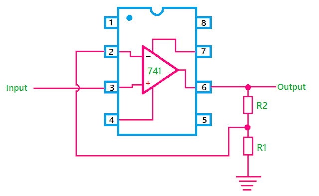 Circuit diagram of Op-Amp as Non-Inverting Amplifier