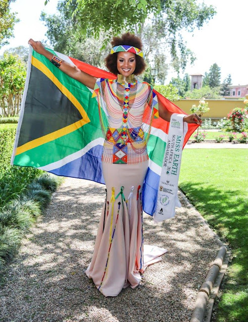 Marho Fargo in national costume by Mr Sonwabile Ndamase of Vukani Fashion