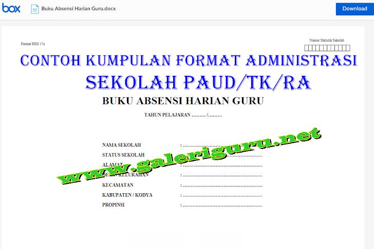 Contoh Kumpulan Format administrasi Sekolah PAUD/TK/RA