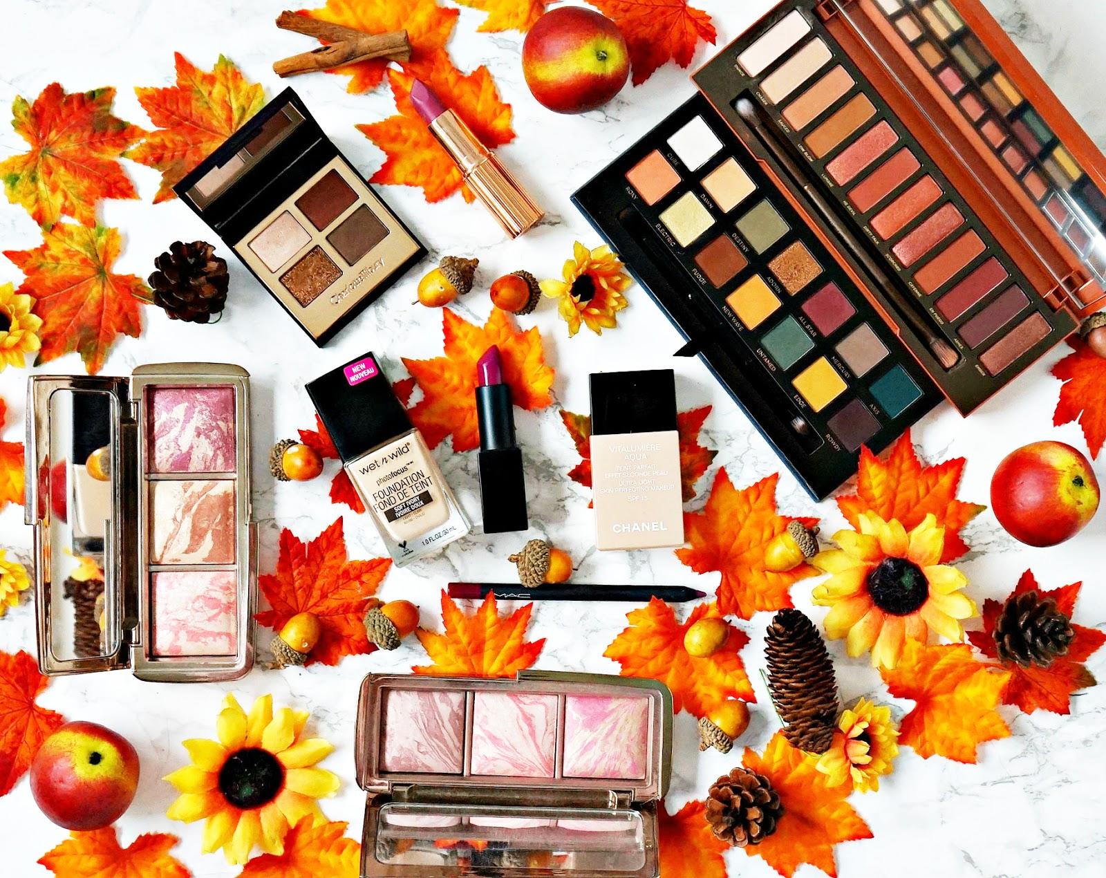 Autumn, Chanel, Charlotte Tilbury, Dolce Vita, MAC, Naked Heat Palette, Nars Audacious, Rebellious, Urban Decay, vitalumiere aqua, Wet N Wild,