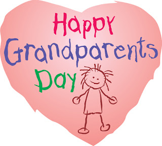 Clipart image of a Happy Grandparents Day message in a heart