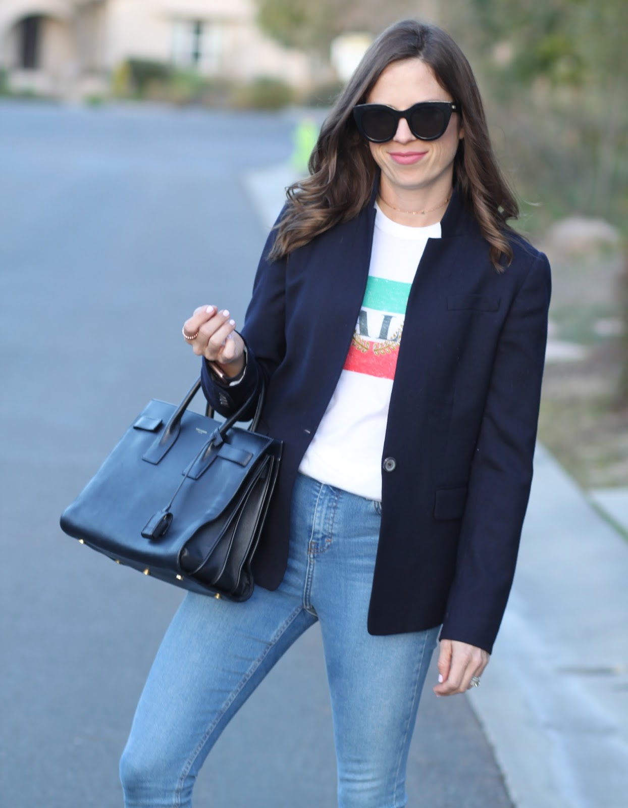 graphic tee and blazer outfit