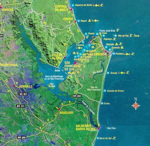 Mapa da região de Joinville - SC