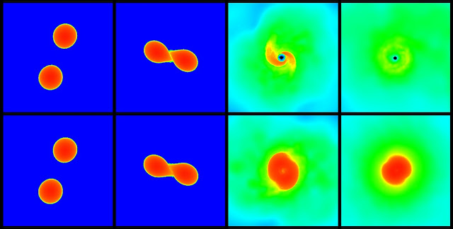 The upper and lower series of pictures each show a simulation of a neutron star merger. In the scenario shown in the upper panels the star collapses after the merger and forms a black hole, whereas the scenario displayed in the lower row leads to an at least temporarily stable star. (Picture: Andreas Bauswein, HITS).