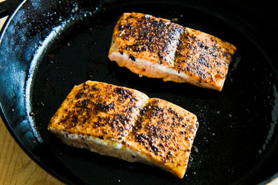 Sumac-Rubbed Salmon Roasted in Olive Oil found on KalynsKitchen.com