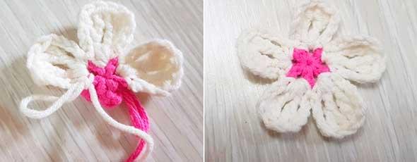 bufandas tejidas con flores, flores almendro, melocotón crochet