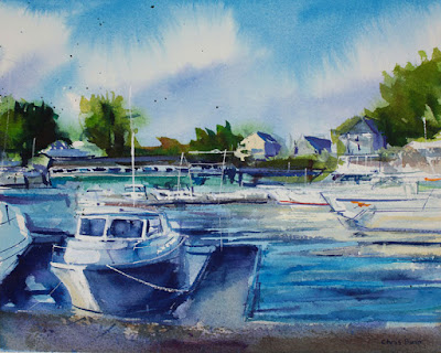 A Watercolor painting of boats at Newfane Marina.