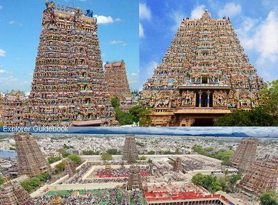 Tempat wisata populer dan terkenal di India kuil tinggi banyak patung meenakhsi amman temple