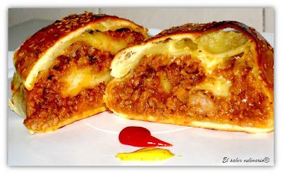 Rollo de pan con cheeseburger. Receta paso a paso