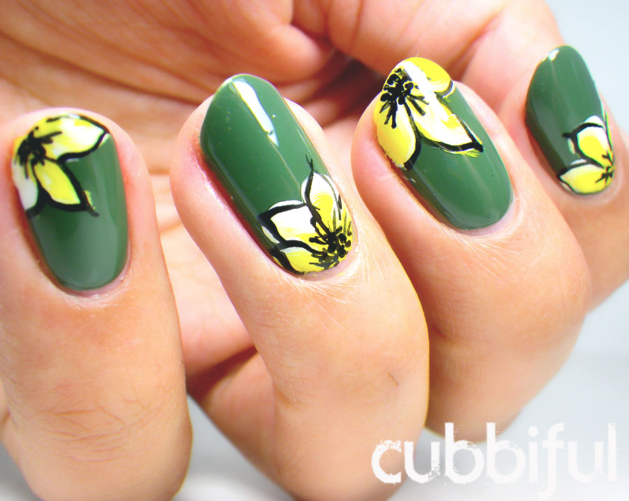 one stroke floral nails