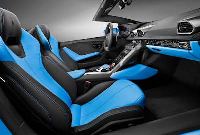 Lamborghini Huracan LP610-4 Spyder Blue& black color seat photo