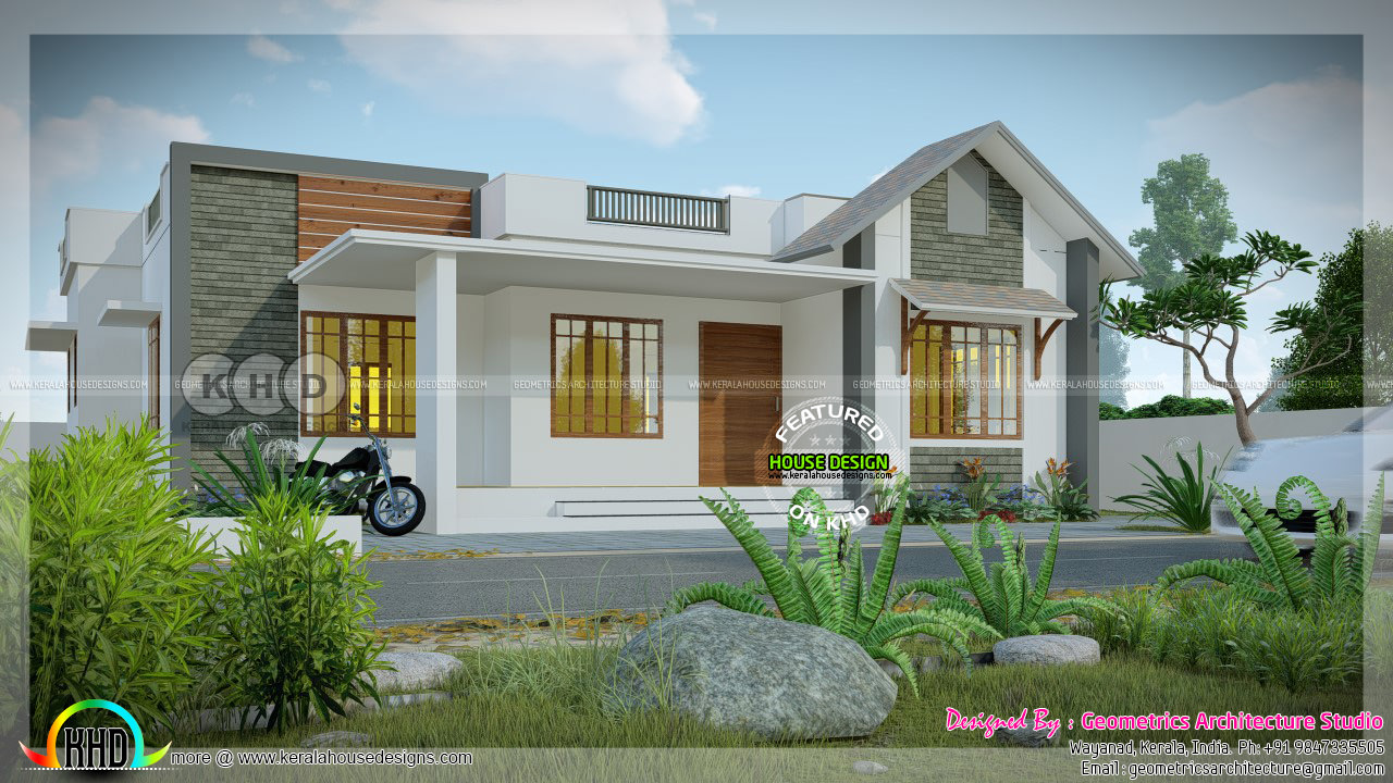 1148 Sq Ft 3 Bhk Mixed Roof One Floor House Kerala Home Design And Floor Plans 8000 Houses
