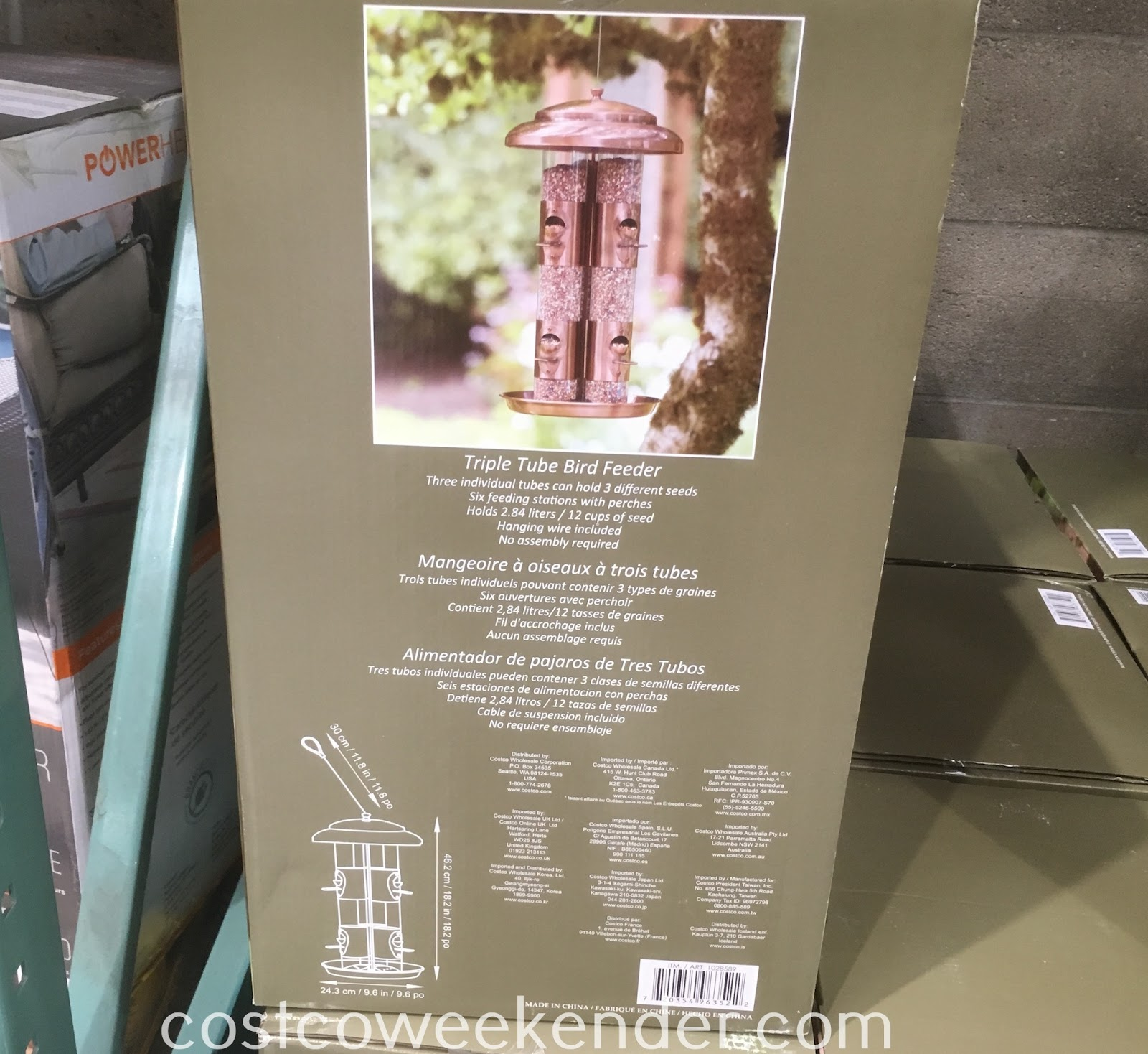 Costco 1028589 - Relax from the comforts of your home while watching birds feast on the Triple Tube Bird Feeder