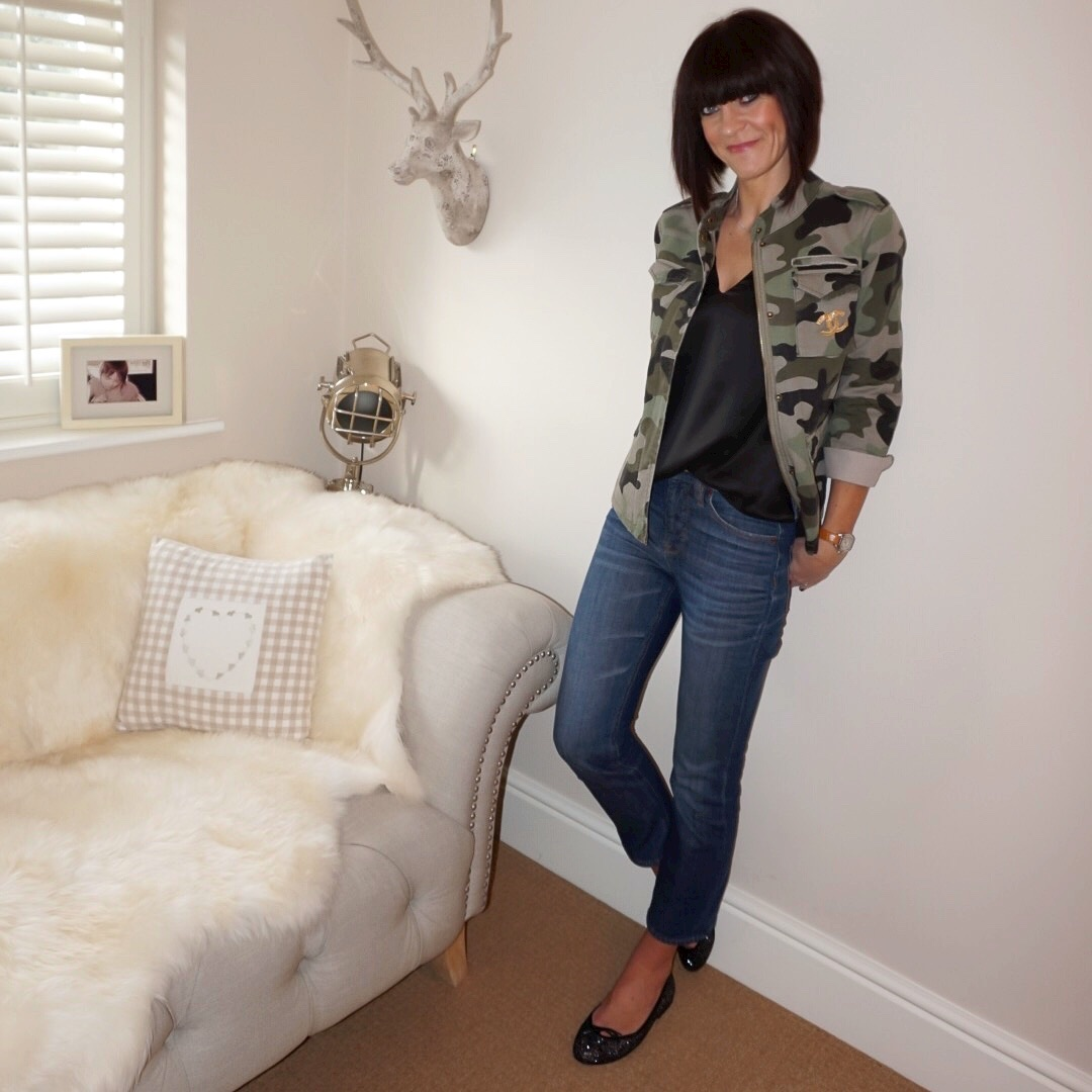 my midlife fashion, hush camo military jacket, marks and spencer pure silk v neck sleeveless top, j crew billie demi boot crop jeans. french sole henrietta glitter ballet pumps
