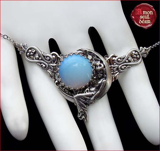 collier croissant de lune collier pierre de lune collier wicca collier opale blanc